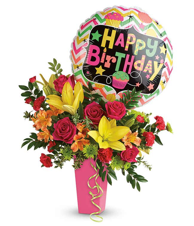 Bright birthday bouquet delivered with birthday balloon