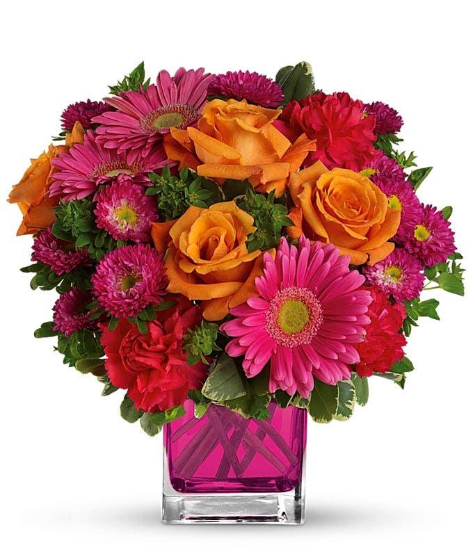 orange roses, hot pink gerber daisies and pink matsumoto flower bouquet