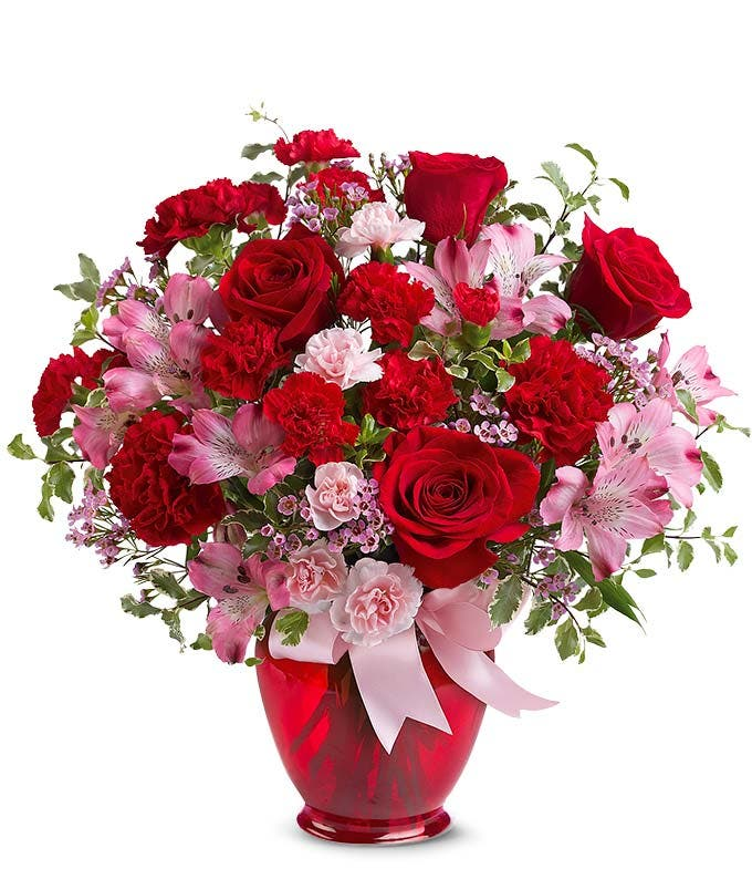 Red rose bouquet with pink alstroemeria
