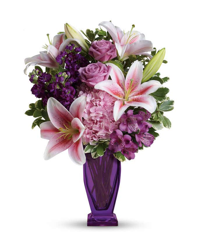 Link pink hydrangea, purple roses and pink stargazer lilies