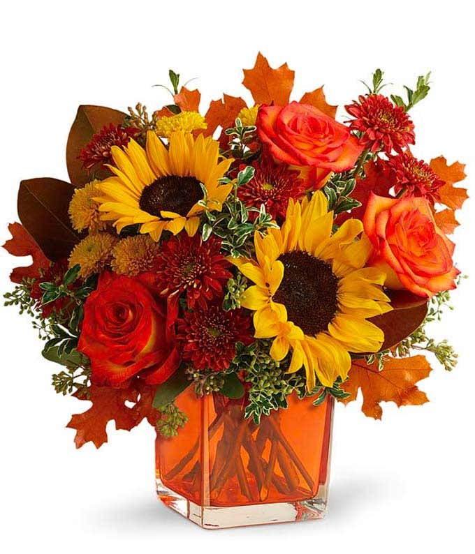Orange Rose Autumn Bouquet