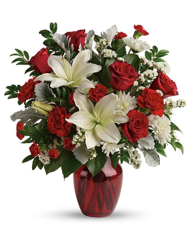 Luxury Valentine's Day Bouquet with red roses and white lilies