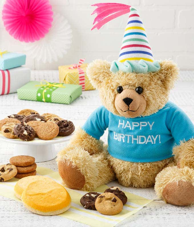 Birthday teddy bear with cookies