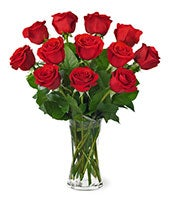 Classic one dozen red rose bouquet for delivery