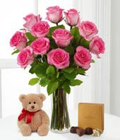 Dozen Pink Roses + Bear + Chocolate