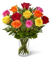 Orange, red, pink and yellow roses