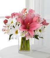 Pink lilies with white daisies