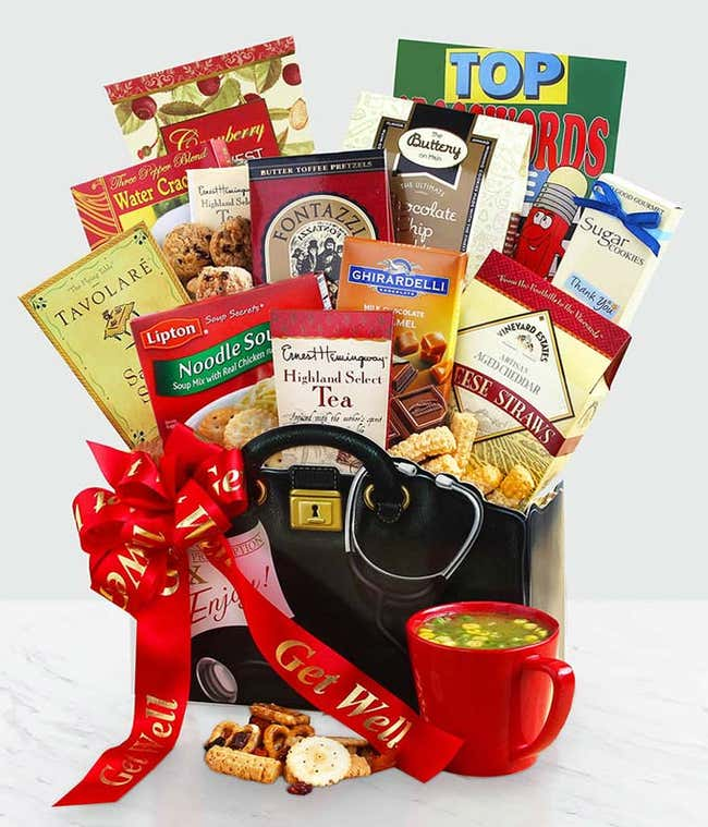 Get well basket with treats in themed basket