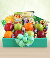 Easter fruit basket with chocolate eggs, brie, crackers and more for delivery