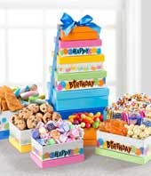 Pastel Birthday Treat Basket with candy and chocolates