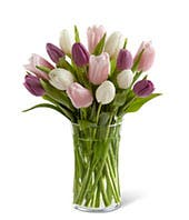 Purple Rain Tulips with FREE Glass Vase