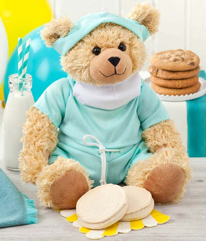 Doctor teddy bear delivered with Mrs. Field's cookies