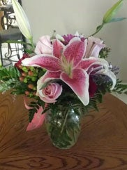 pink flower bouquet delivered in Tulsa