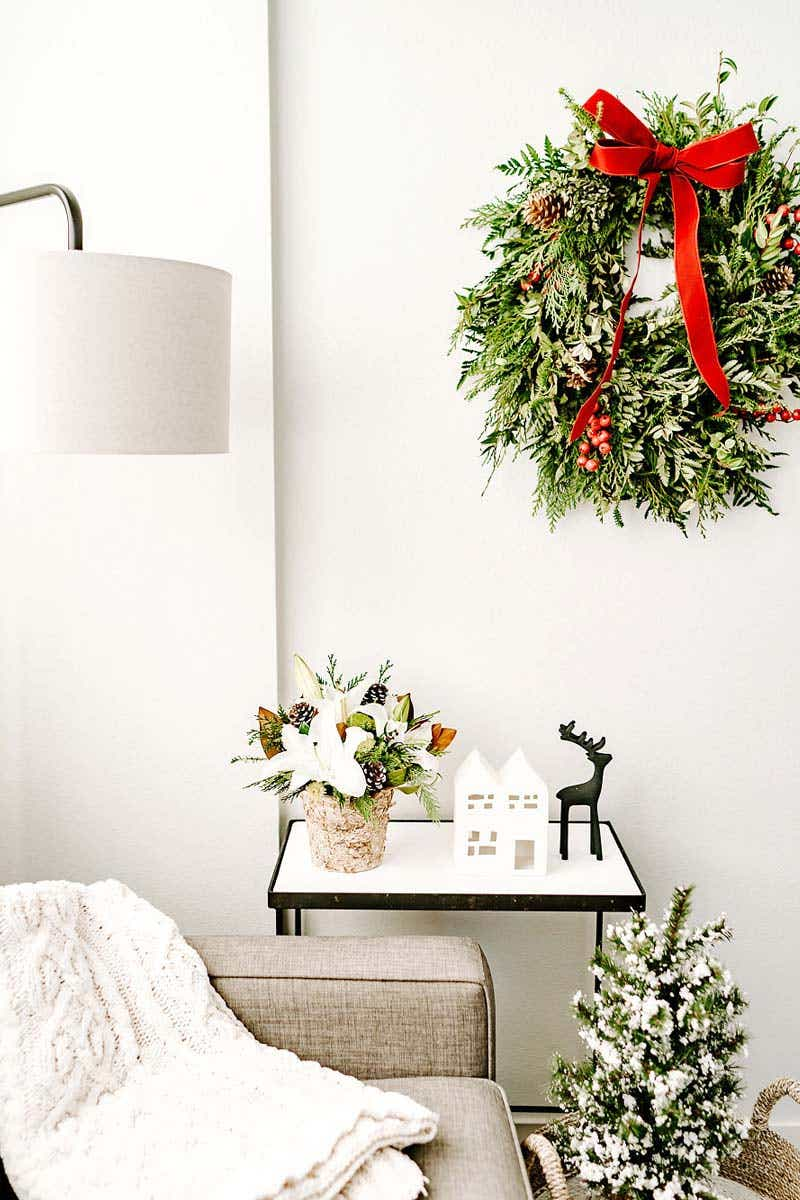Christmas wreath on display in a home