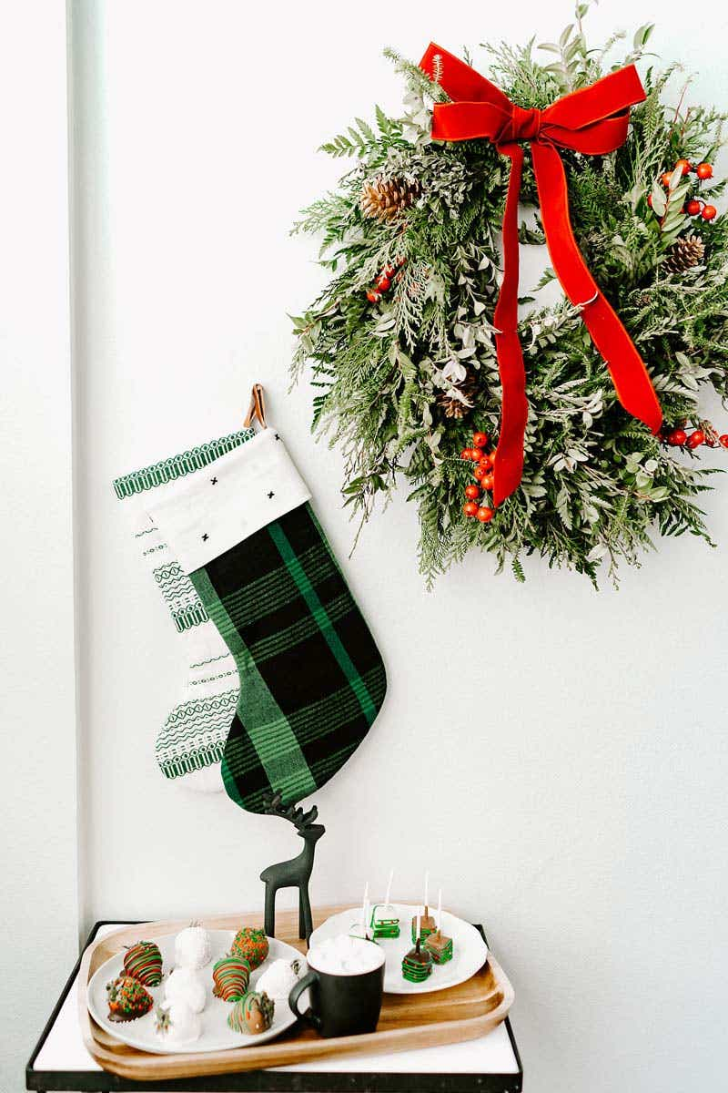 Holiday wreath hung up