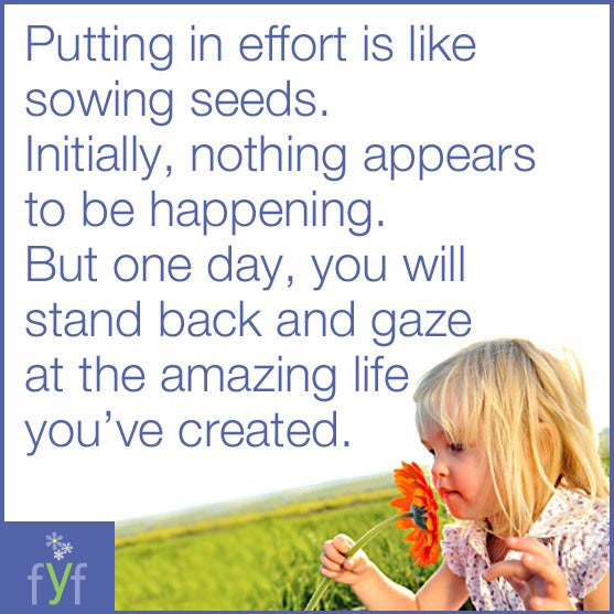 Putting in effort is like sowing seeds. Initially nothing appears to be happening. But one day, you will stand back and gaze at the amazing life you've created